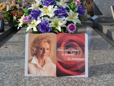Plaque funéraire mamie livre